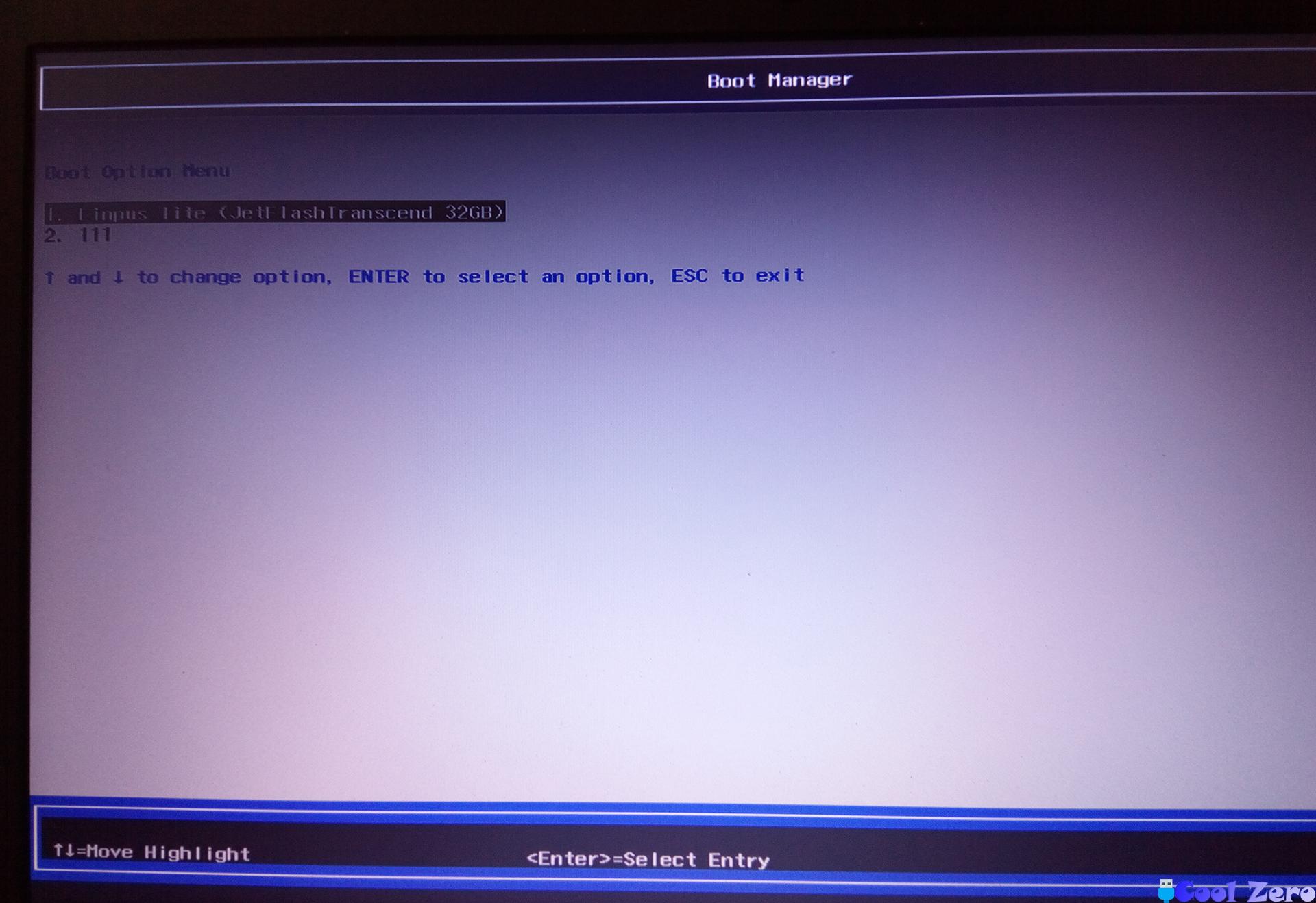 Меню ноутбука с выбором загрузки