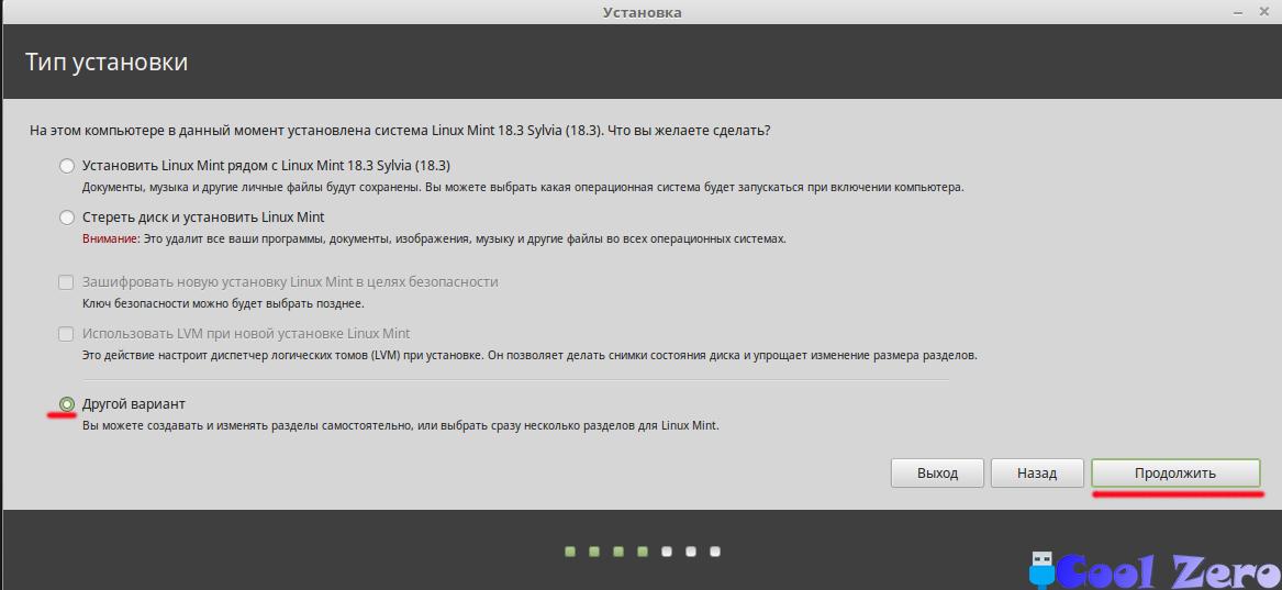 Установка Linux Mint (Тип установки)