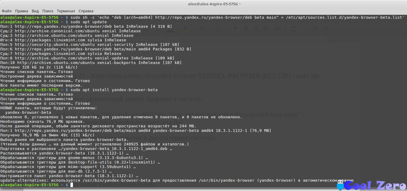 Установка Yandex-браузера в терминале Linux Mint
